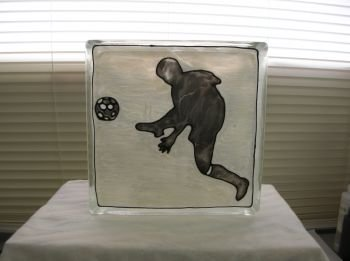 Hand Painted Soccer Player Glass Block Night Light