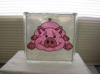 Hand Painted Pig Glass Block Night light