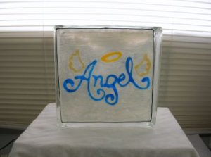 Hand Painted Angel Glass Block Light
