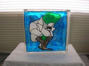 Hand Painted Butler Frog Glass Block Light