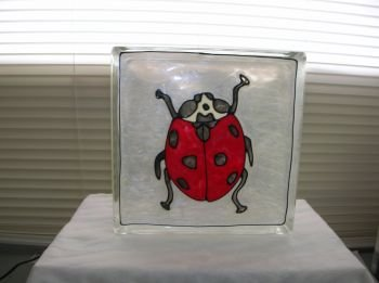 Hand Painted Lady Bug Glass Block Light