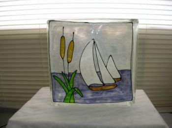 Hand Painted Sailboat Glass Block Light