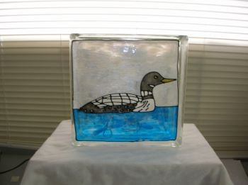 Hand Painted Loone Glass Block Light