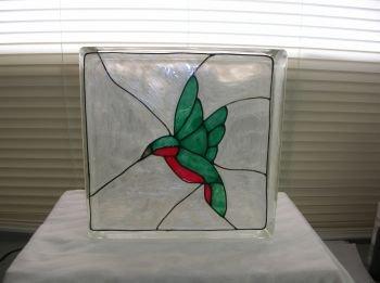 Hand Painted Hummingbird Glass Block Light
