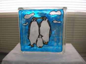 Hand Painted Penquin Family Glass Block Light