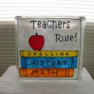 Hand Painted Teachers Rule Glass Block Light