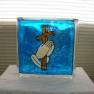 Hand Painted Cross With Praying Hands Glass Block Light