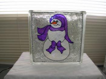Hand Painted Snowman Glass Block light