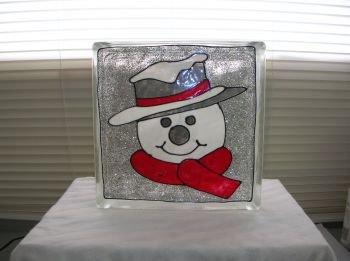 Hand Painted Snowman Head Glass Block Light