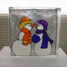 Hand Pained Kissing Snowmen Glass block Light