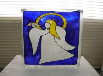 Hand Painted Angel Glass Block Light