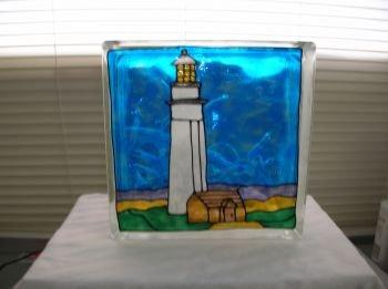 Hand Painted Lighthouse Glass Block Light