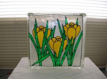 Hand Painted Iris Glass Block Light