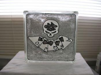 Hand Painted Poker Face Glass Block Light