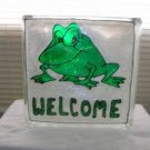 Hand Painted Welcome Frog Glass Block Light