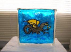 Hand Painted Full Body Dragon Glass Block Light