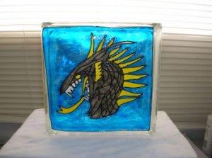 Hand Painted Dragon Head Glass Block Light
