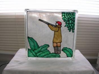 Hand Painted Hunter Glass Block Light