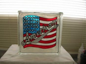 Hand Painted American Flag Glass Block Light