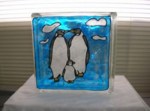 Hand Painted Penquins Glass Block Light