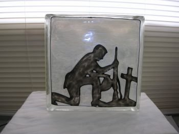 Hand Painted Praying Soldier Glass Block Light