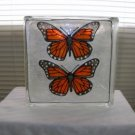 Hand Painted Monarch Butterfly Glass Block Light
