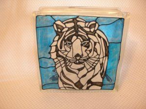 Hand Painted White Tiger Glass Block Light