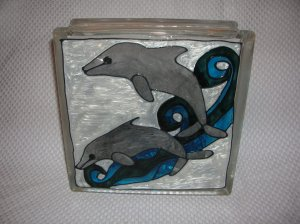 Hand Painted Two Dolphins Glass Block Light