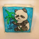 Hand Painted Panda Bear Glass Block Light