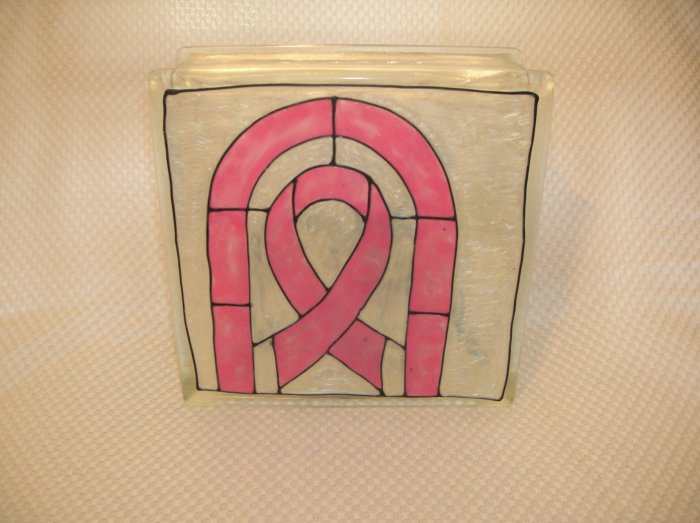 Hand Painted Cancer Ribbon Glass Block Light