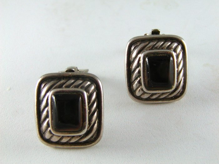 VINTAGE STYLE STERLING SILVER CLIP ON EARRINGS