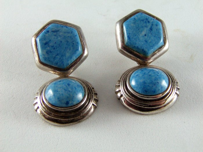STERLING SILVER BLUE TURQUOISE PIERCED EARRINGS