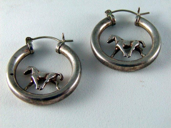 VINTAGE STERLING SILVER HORSE HOOP PIERCED EARRINGS