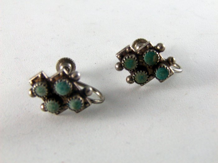 VINTAGE NATIVE AMERICAN STERLING SILVER TURQUOISE PIERCED EARRINGS