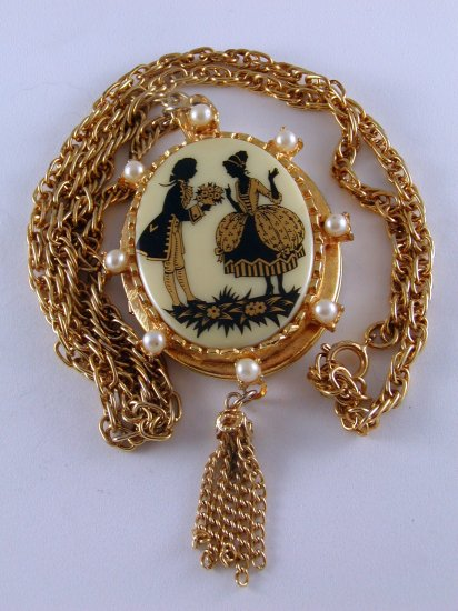 VINTAGE 1950'S 60'S LOCKET NECKLACE FRENCH STYLE