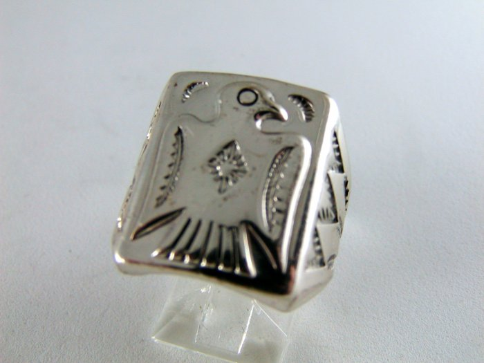 NATIVE AMERICAN BELL TRADING POST STERLING SILVER EAGLE RING SZ 8 1/4