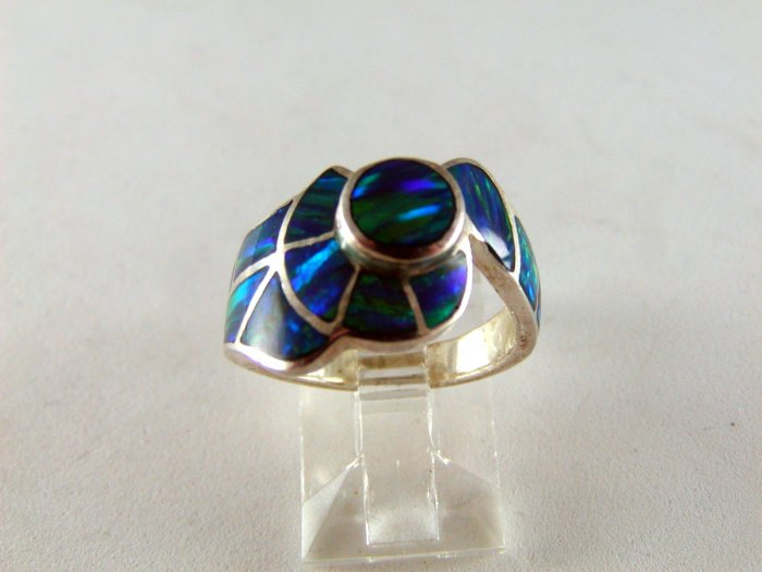 VINTAGE STYLE STERLING SILVER BLUE GREEN OPAL RING SIZE 6
