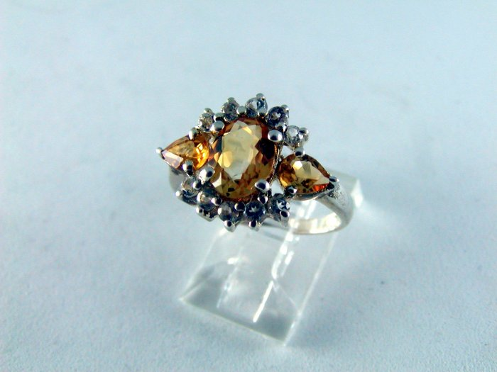 VINTAGE STYLE COCKTAIL STERLING SILVER RING CZ'S SIZE 7 1/4