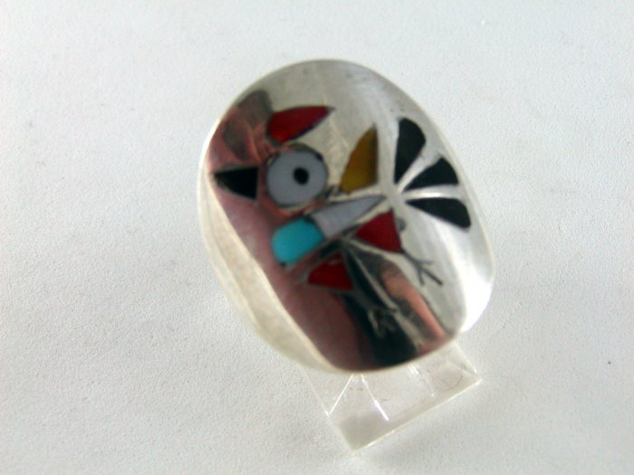 VINTAGE NATIVE AMERICAN ZUNI STERLING SILVER CORAL TURQUOISE MOTHER OF PEARL BIRD RING SZ 8