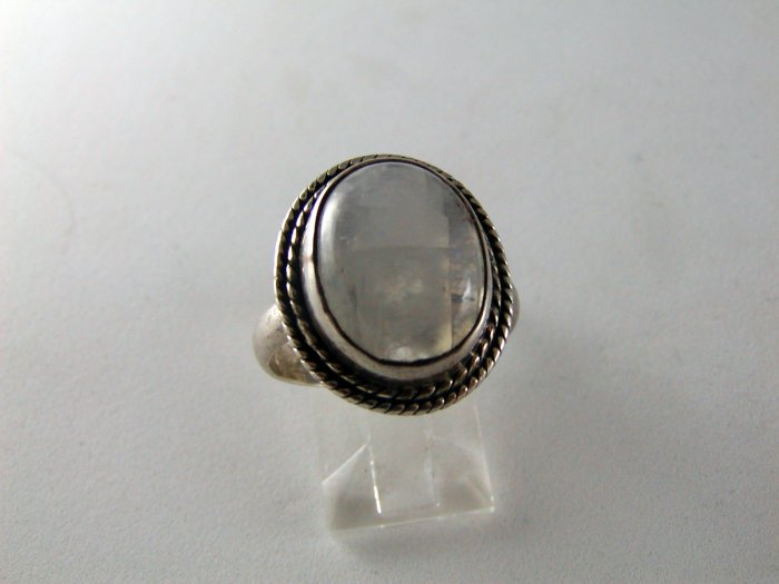 VINTAGE STERLING SILVER MOONSTONE RING SZ 8 1/4