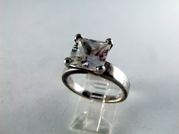 HUGE MAJOR BLING STERING SILVER CZ SOLITAIRE RING SZ 8 1/2