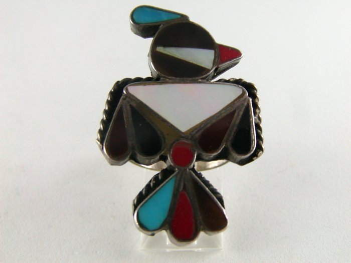 VINTAGE STERLING SILVER NATIVE AMERICAN WOODPECKER BIRD RING SZ 7 CORAL TURQUOISE