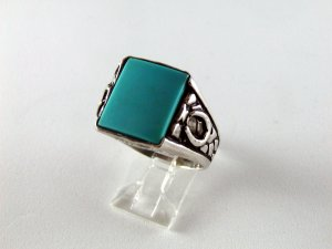 VINTAGE NATIVE AMERICAN STERLING SILVER TURQUOISE RING SZ 11