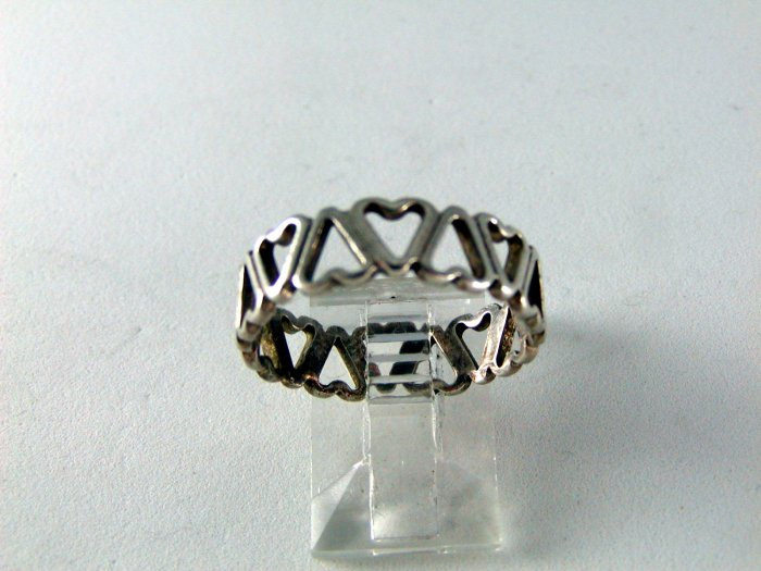 VINTAGE STERLING SILVER HEART AFTER HEART RING SZ 8