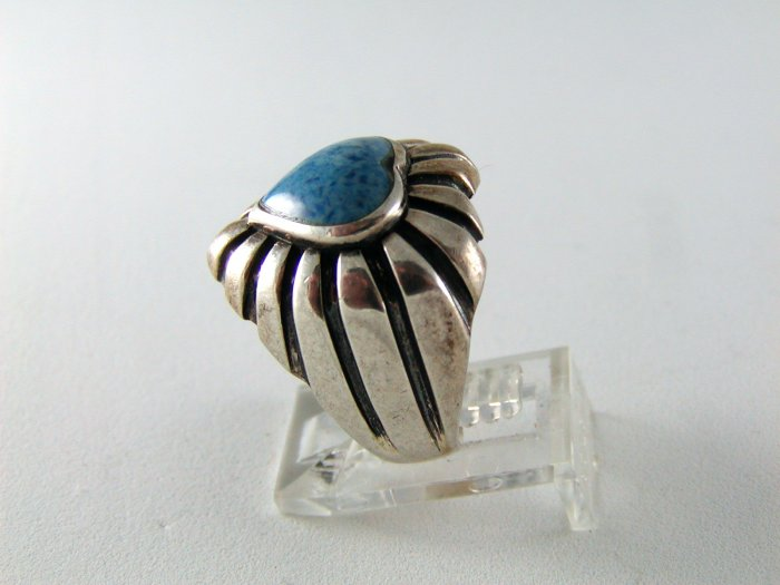 STERLING SILVER BLUE ONYX HEART RING SIZE 7 1/4