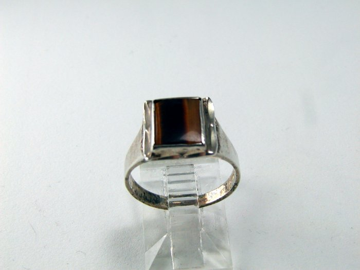 VINTAGE STERLING SILVER TIGER EYE RING SIZE 5 3/4