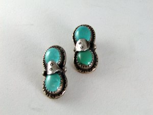 VINTAGE NATIVE AMERICAN STERLING SILVER TURQUOISE PIERED EARRINGS