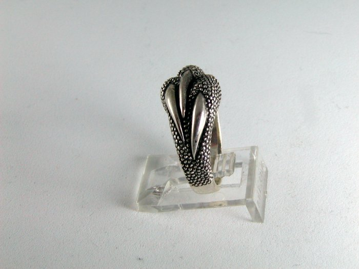 VINTAGE STYLE STERLING SILVER EAGLE CLAW BAND RING SIZE 6 1/4