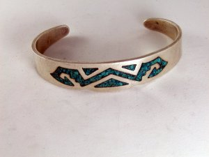 VINTAGE MEXICAN MEXICO TAXCO STERLING SILVER TURQUOISE CUFF BRACELET