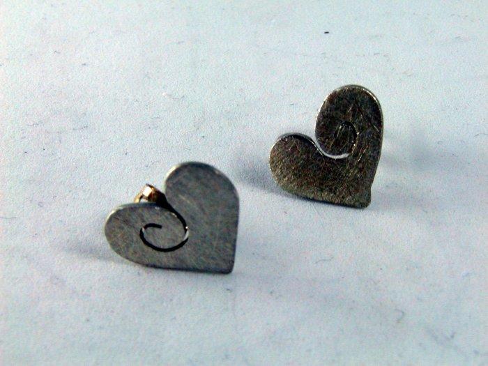 VINTAGE STERLING SILVER HEART PIERCED EARRINGS